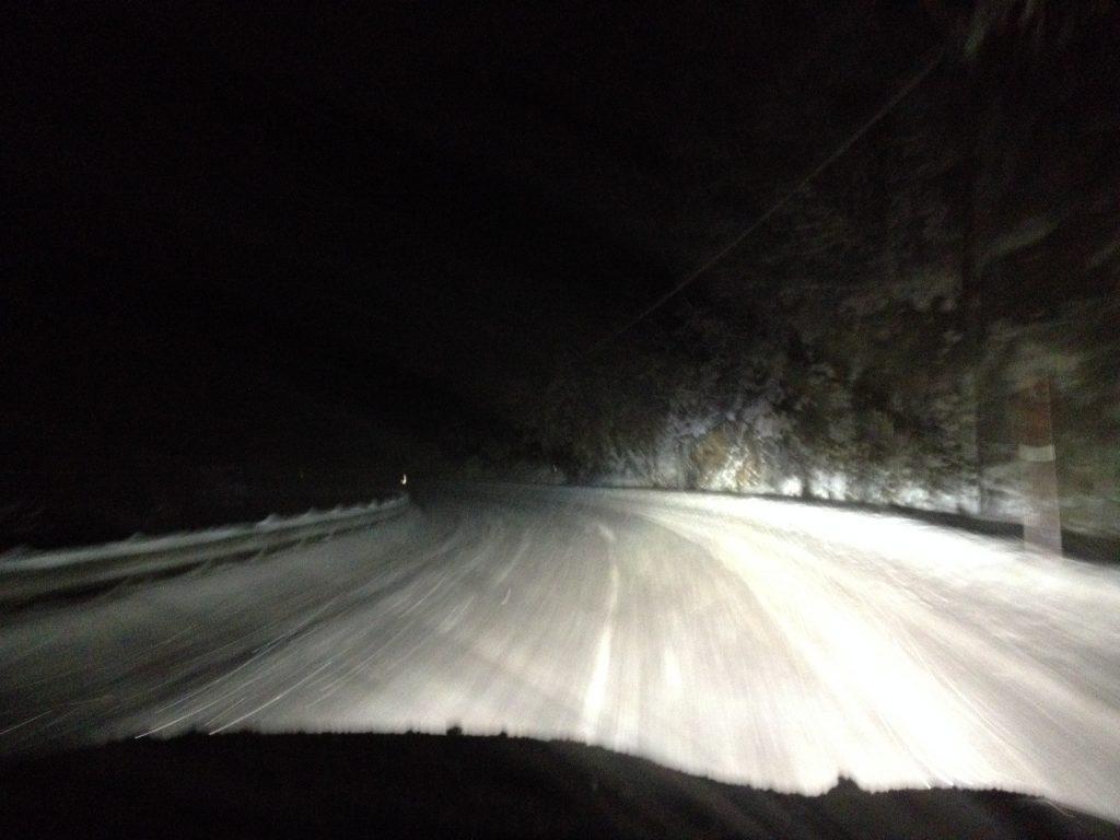 Night driving on snow