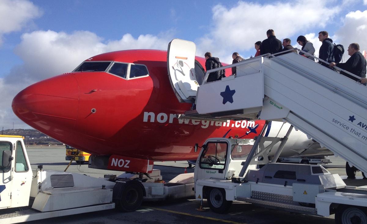 Norwegian plane at Trondheim Airport
